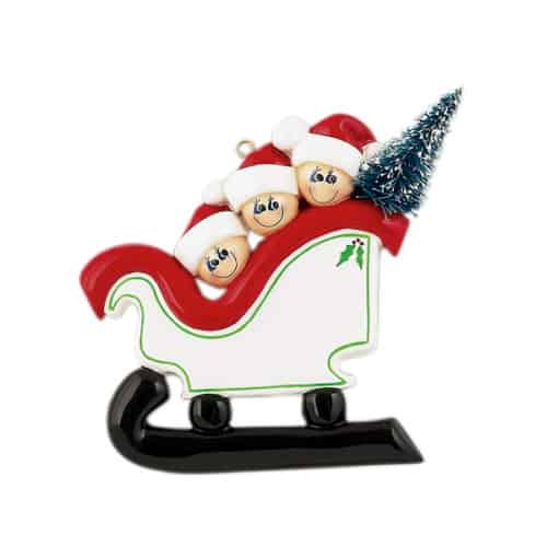 Personalised Sleigh Family 3 Christmas Ornament