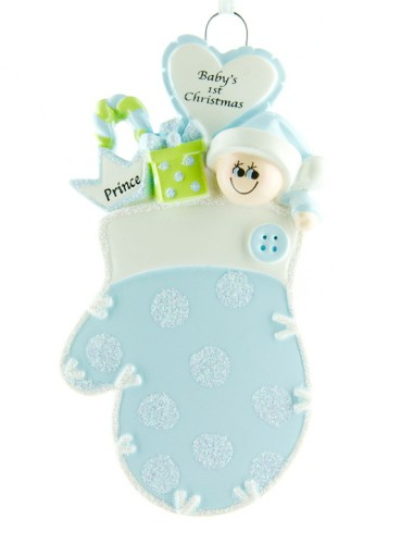 Personalised Blue Baby's Mitten 1st Christmas Ornament