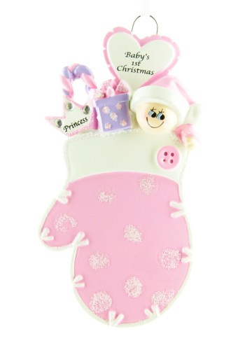 Personalised Pink Baby's Mitten 1st Christmas Ornament