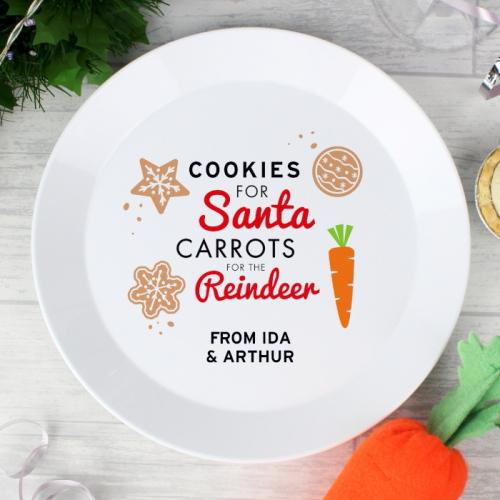 Personalised Cookies for Santa Christmas Eve Plastic Plate
