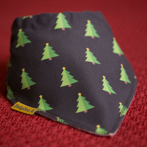 Christmas Trees Grey Christmas bib