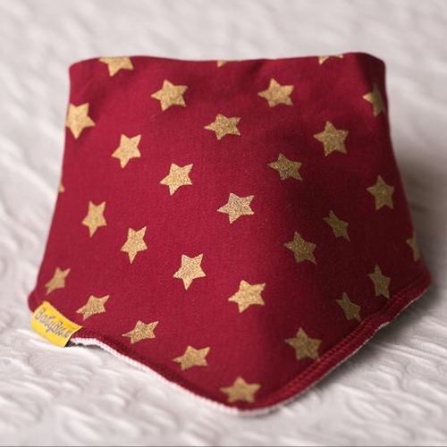 Gold Stars on Wine Christmas Bib