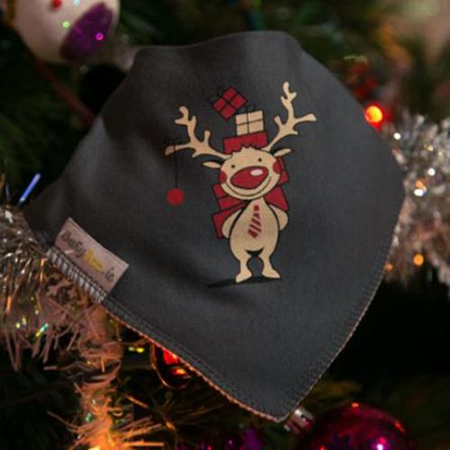 Rudolph Grey Christmas Bib
