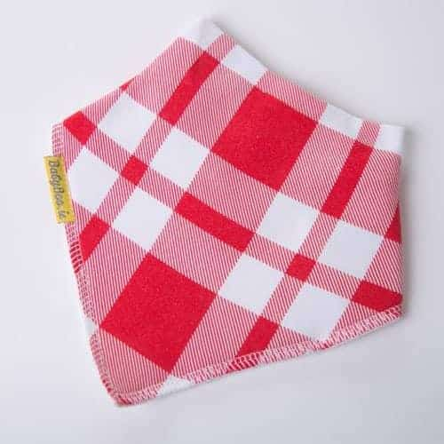 Traditional Gingham Red Christmas Bib
