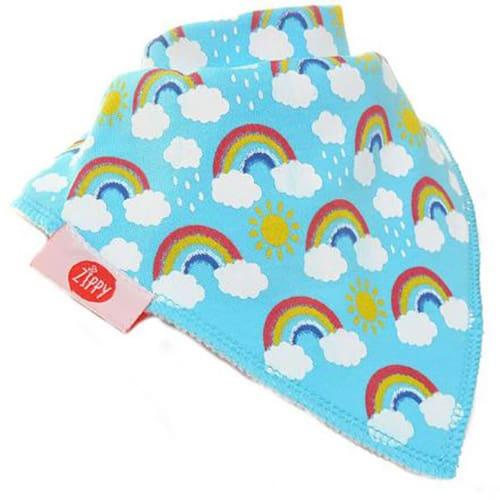 Rainbows and Sun on Blue Bib