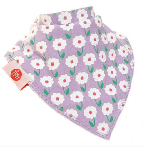 White Flowers on Purple Bandana Bib