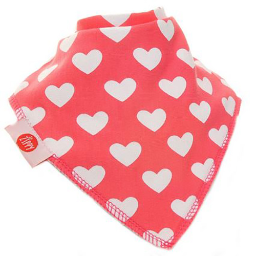 White Hearts on Pink Bandana Bib