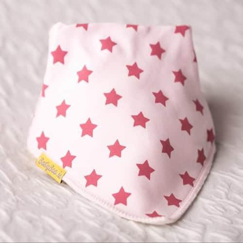 Berry Stars on Pink Organic Cotton Bib