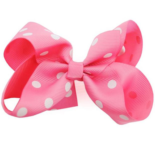 Boutique Pink Polka Dot Bow - Medium