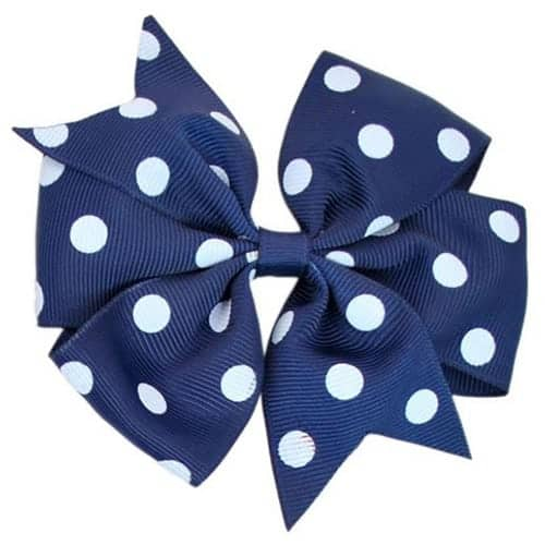 Navy Polka Dot Pinwheel Bow Medium