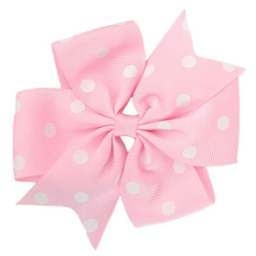 Pink Polka Dot Pinwheel Bow Medium
