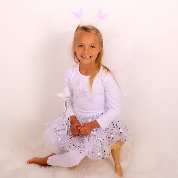White Sparkle Tutu And Wing Set - 3-6 years