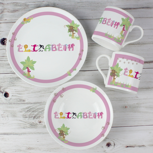 Personalised Animal Name Breakfast Set Pink