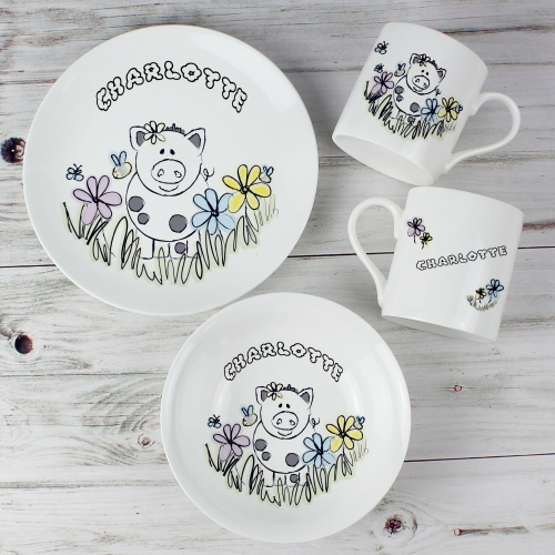 Personalised Farmyard Pig Breakfast Set