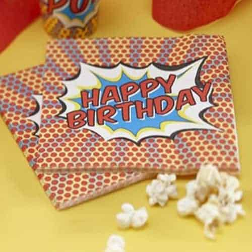 Happy Birthday Paper Napkins - Pop Art Superhero Party