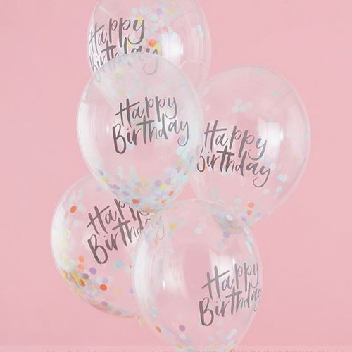 Happy Birthday Confetti Balloons - Pastel Party