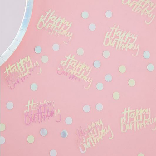 Happy Birthday Iridescent Table Confetti - Pastel Party