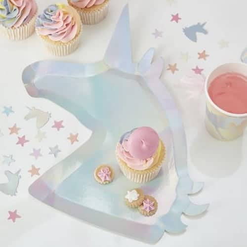 Iridescent Unicorn Shaped Paper Plates - Make A Wish
