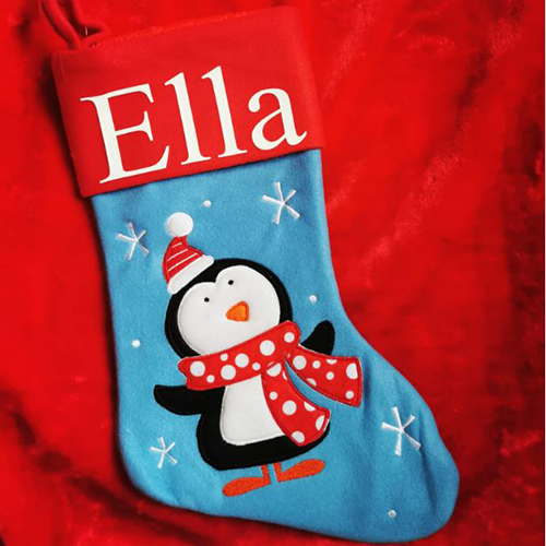 Personalised Plush Blue Penguin Christmas Stocking
