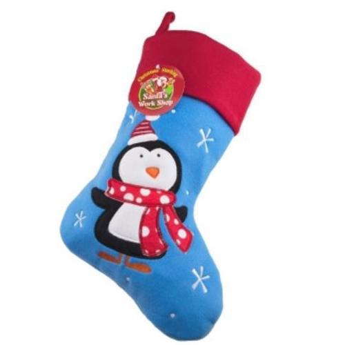 Personalised Plush Blue Penguin Christmas Stocking