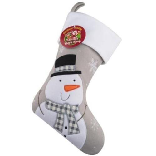 Personalised Plush Silver Snowman Christmas Stocking