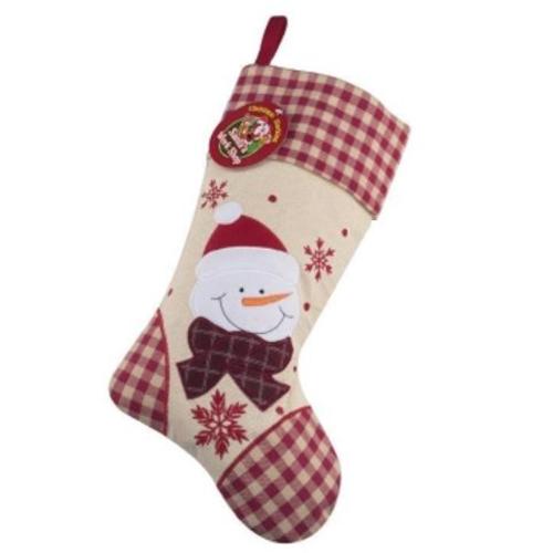 Personalised Plush Tartan Snowman Christmas Stocking