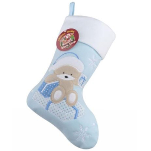 Personalised Plush Teddy Baby Blue Christmas Stocking