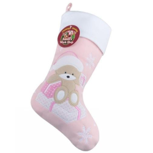 Personalised Plush Teddy Baby Pink Christmas Stocking