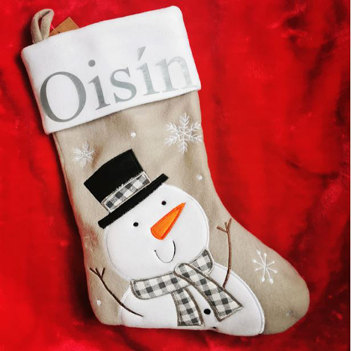 Personalised Plush Silver Snowman Christmas Stocking