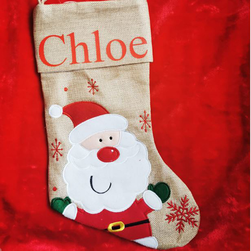 Personalised Santa Hessian Christmas Stocking