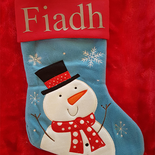 Personalised Plush Blue Snowman Christmas Stocking