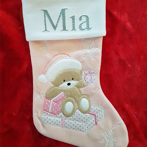 Personalised Plush Teddy Baby Pink Christmas Stocking