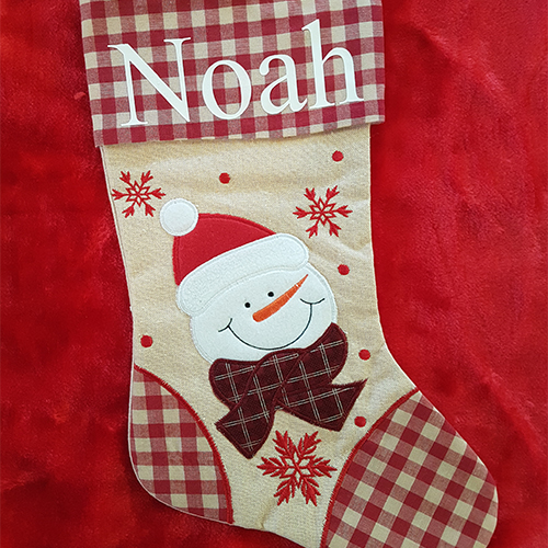 Personalised Plush Tartan Snowman Christmas Stocking