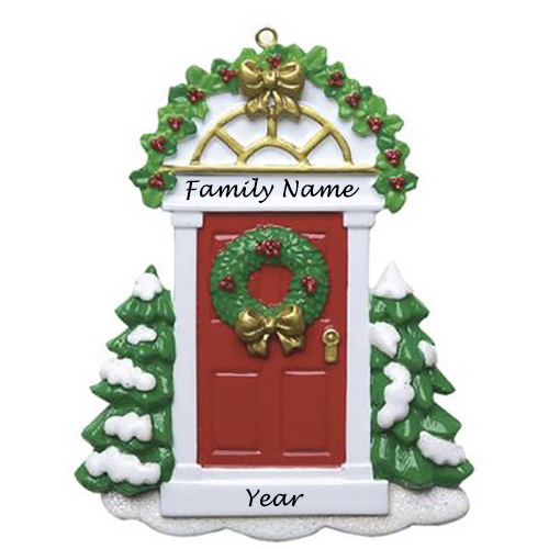 Personalised Red Door Christmas Ornament