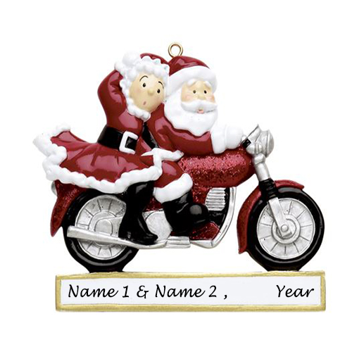 Personalised Santa Couple on Motorcycle Ornament