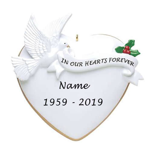 Personalised In Our Hearts Forever Ornament