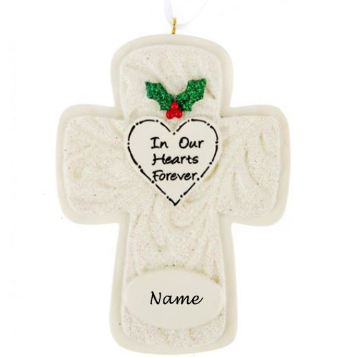 Personalised In Our Hearts Cross Ornament