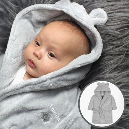 Personalised Grey Bear Ears Hooded Baby Dressing Gown 0-6 Months