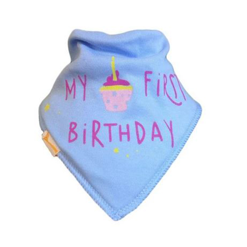Pale Blue My First Birthday Bib