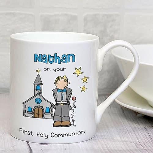 Personalised Bang On The Door First Holy Communion Boys Balmoral Mug