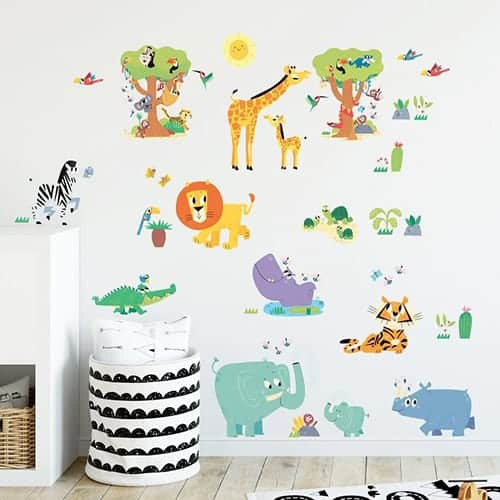 Happy Jungle Animals Wall Stickers