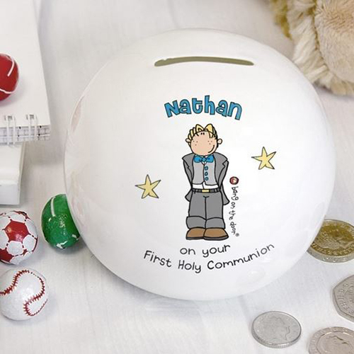 Personalise this Bang on the Door Boys First Holy Communion Money Box