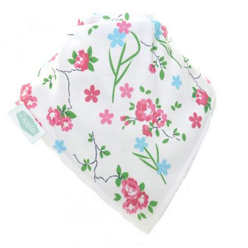 Flower Print On White Bandana Bib