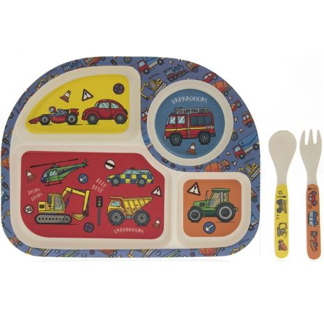 Bamboo Eating Set - Vehicles