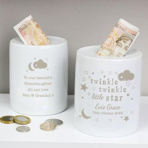 Personalised Twinkle Twinkle Ceramic Money BoxPersonalised Twinkle Twinkle Ceramic Money Box