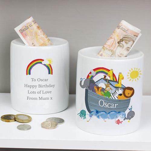 Personalised Noahs Ark Ceramic Money Box
