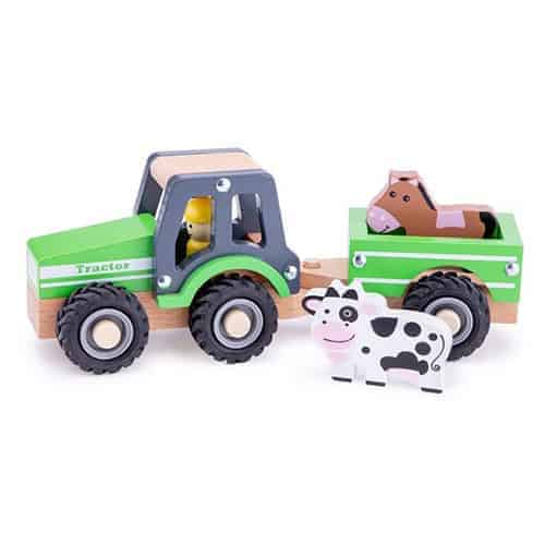 Wooden Tractor and Trailer with Animals