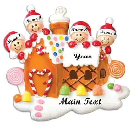 Gingerbread House With 4 Personalised Christmas Decoration
