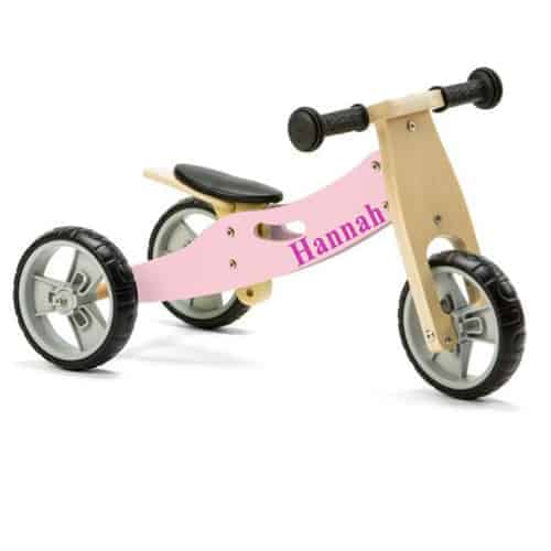 Personalised Toddlers Mini Balance Bike 2 in 1 Pastel Pink