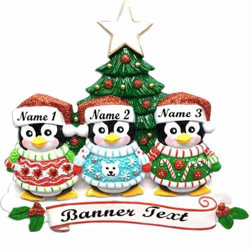 Ugly Sweater Family of 3 Personalised Christmas Decoration